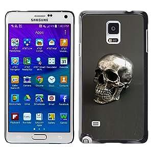 LECELL--Funda protectora / Cubierta / Piel For Samsung Galaxy Note 4 SM-N910 -- Skull Silver Bling Metal Grey Death --