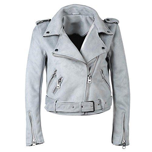 Everpert Solid Color Winter Women Turn Down Collar Zipper Suede Short Jacket Coat Light Blue, L