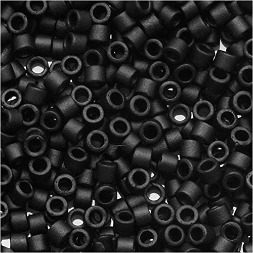 Miyuki Delica Seed Bead 11/0 DB310, Opaque Black Matte, 9-Grams/Pack
