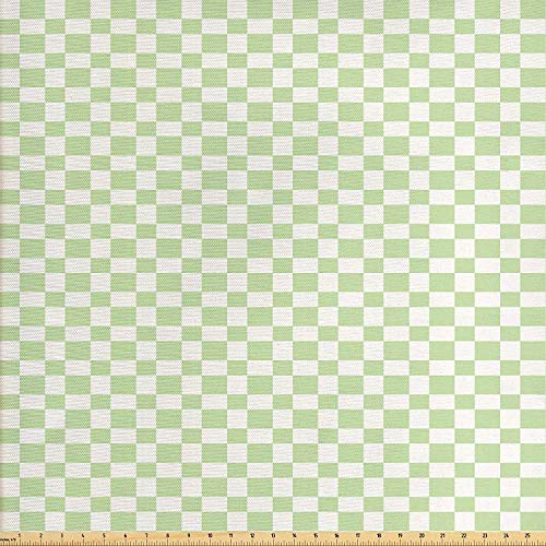MIGAGA Geometric Fabric by The Yard, Big Squares Checked Pattern in Soft Colors Retro Monochrome Tile Print, Decorative Fabric for Upholstery and Home Accents, 5 Yards, Lime Green White