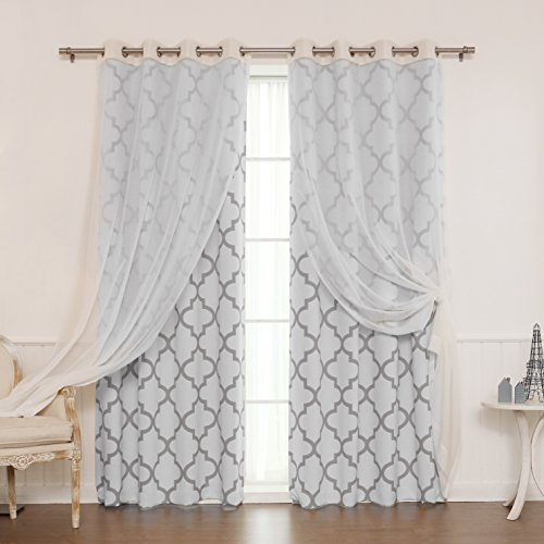 Best Home Fashion Mix Match Muji Sheer Linen and Room Darkening Reverse Moroccan Print Curtain Set Stainless Steel Nickel Grommet Top Grey 52 W x 84 L 2 Curtains and 2 Sheer curtains