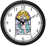 Virgin Mary (Stained Glass) Christian Theme Wall Clock by WatchBuddy Timepieces (White Frame)