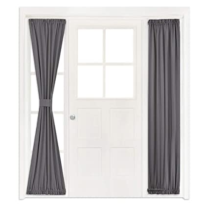 french doors with sidelights sliding nicetown french door window curtains functional thermal insulated blackout curtain panels for patio door amazoncom