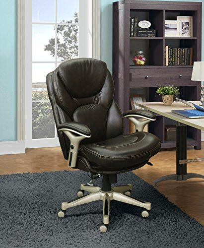 Chestnut Upholstered Chair - Serta Works Ergonomic Executive Office Chair with Back in Motion Technology, Chestnut Bonded Leather