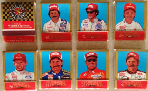 Cale Yarborough Nascar (WINSTON CUP Series 25th Anniversary NASCAR CHAMPIONS Collectible Driver Character Matches Includes: DALE EARNHARDT, RICHARD PETTY, CALE YARBOROUGH, RUSTY WALLACE & More (50 Match Books in Collector Tin))