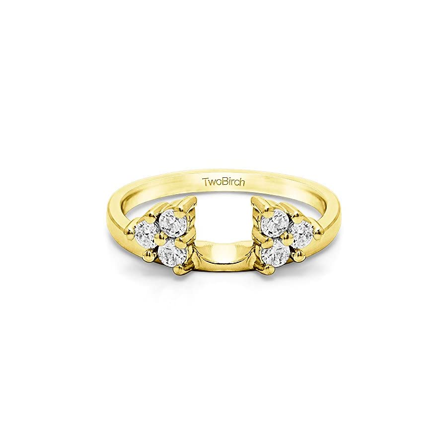 Diamond Three Stone Ring Wrap Enhancer in Sterling Silver G H I2(0.12Ct) Size 3 To 15 in 1/4 Size Interval