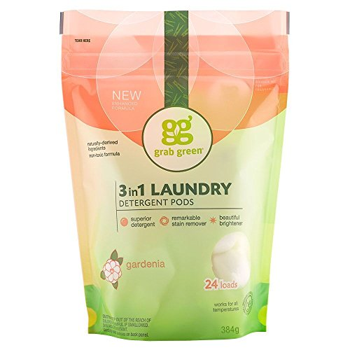 Grab Green Natural 3 in 1 Laundry Detergent Pods, Gardenia-With Essential Oils, 24 Loads, Organic Enzyme-Powered, Plant & Mineral-Based
