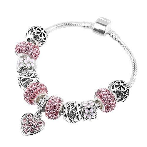 FAVOT 2019 New Heart Pendant Bracelet Creative Pink Crystal Beaded Pandola DIY Hand Chain for Women (Silver)