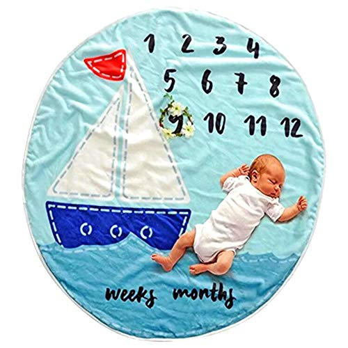 Round Baby Milestone Blanket for Newborns - Wreath and Monthly Milestone Stickers Included (Set of 16) - 100% Organic Thick Polar Fleece (Large) - Perfect Baby Shower Gift for Newborn Babies