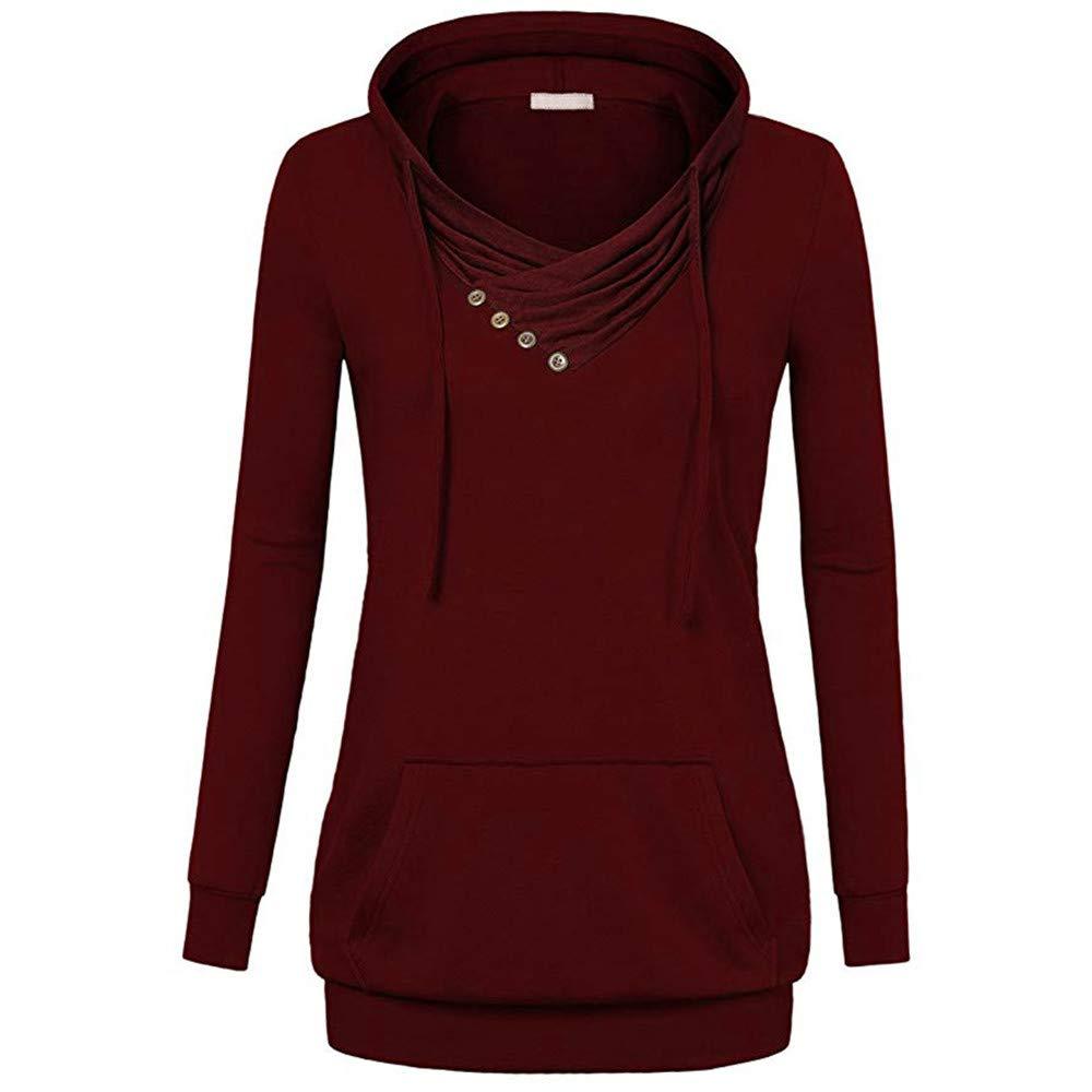 kaifongfu Hooded Sweatshirt with Pocket for Women Lightweight Crowl Neck (Reds)