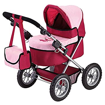 Amazon.com: Bayer Design 13014 Trendy Doll Pram, Red and Pink: Toys & Games