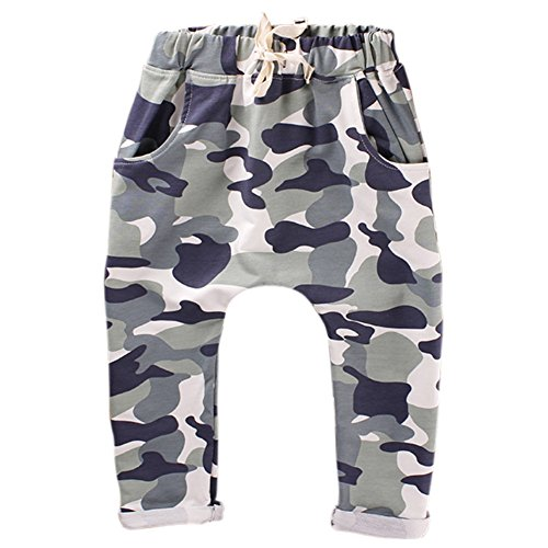 Weixinbuy Unisex Kid Toddler Cotton Jersey Harem Pants Baby Elastic Trousers (L, Camouflage Green)