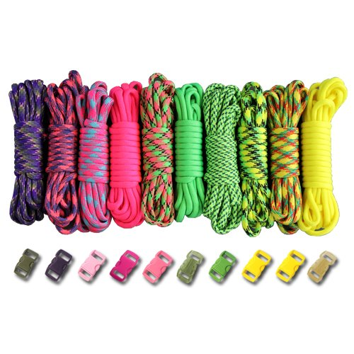 Paracord Planet 550lb Type III Paracord Combo Crafting Kits with Buckles (SUMMER)
