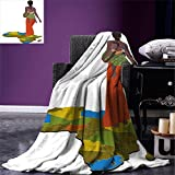 smallbeefly African Woman Digital Printing Blanket Mother Carrying Baby Girl on Her Back Africa Country Culture Continent Map Summer Quilt Comforter Multicolor