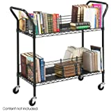 Safco Products 5333BL Wire Book Cart, 2 Shelf, Black
