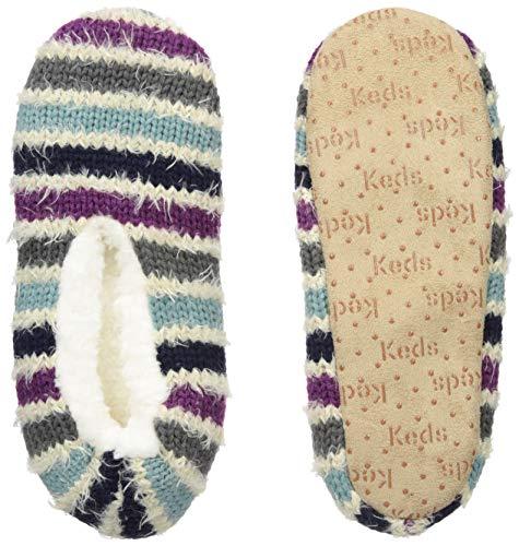 Keds Women's Furry Tail Stripe Slipper Socks, deep Cobalt, Small/Medium