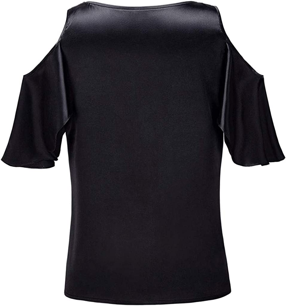 SNOWSONG Womens V Neck Cold Shoulder Elegant Blouse Sunflower Embroidered Long Sleeve Ruffles Loose Boho Tunic Shirts
