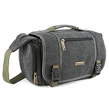 Evecase Large Vintage Messenger Digital SLR Camera case/bag for Nikon D810, D800E, D750, D700, D610, D600, D500, D7200, D7100, D5500, D5300, D5200, D5100, D3300, D3200, D3100, DL24-500 (Gray)