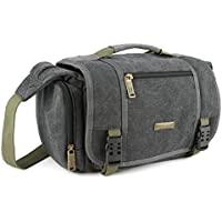 Evecase Large Vintage Canvas Messenger SLR Camera case bag with Shoulder Strap for Canon Nikon Sony Panasonic FujiFilm Olympus Pentax and more DSLR Camera- Gray