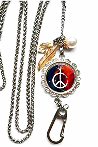 RhyNSky Hand Peace Sign Chain Lanyard Necklace Bracelet Keychain Eyeglass Holder for ID Card Name Tag Badge Holder with Clasp, -