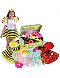 Girls Princess Dress up Trunk Ladybug, Bee, Fairy Costume for Little Girls Toddlers Age 3-7