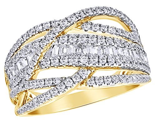 AFFY Round & Baguette Shape White Natural Diamond Loose Braid Ring in 10k Solid Yellow Gold (1 ()