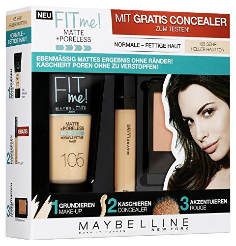 Maybelline New York Set Matt und Poreless Make-Up 105, Master Heat Blush 40, 1er Pack (1 x 3 Stück), natural ivory