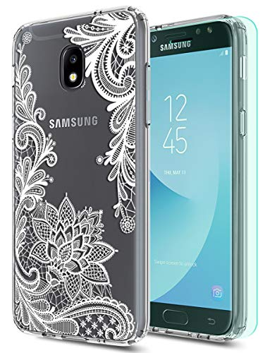 Case Stars Design Protector (Galaxy J3 2018 Case,Galaxy J3 Eclipse 2/J3 Express Prime/J3 Prime 2 case with HD Screen Protector Huness Clear Flower Transparent PC Backplate Slim Phone Case for Samsung J3 Emerge 2018 (Flower))