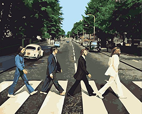 CaptainCrafts New Diy Paint by Numbers 16x20 for Adults Beginner Kit, Kids LINEN Canvas - Street View, The Beatles Band (Frameless) by CaptainCrafts