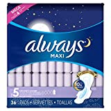 Always Maxi Size 5 Extra Heavy Overnight Pads With Wings,36 Count (Pack of 4)