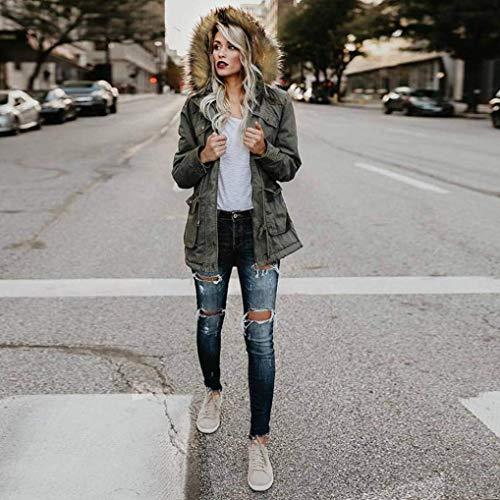 Coat Baggy Schwarz Jacket Lunga Outdoor Donna Solidi Colori Grazioso Cerniera Tasche Cappuccio Manica Con Comodo Invernali Giacca Anteriori Cappotto Coulisse rhtQBsdCx