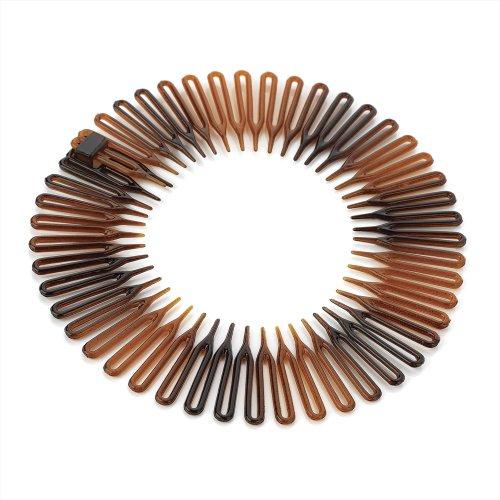 (Pack of 1 Tort Plastic Flexi Comb Zig Zag Sports Headband Hair Band)