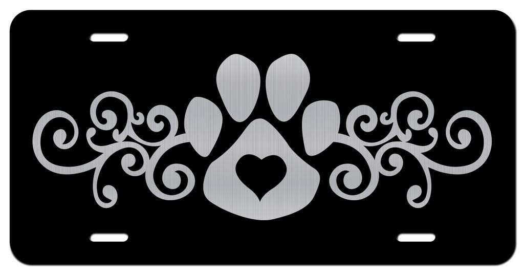 Dog Paw Heart Love Vanity Front License Plate Tag KCE337