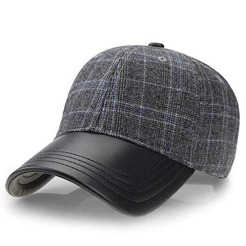 - WEEKEND SHOP Snapback hat Vintage Plaid Pattern Men hat Winter Baseball Cap Trucker Sport Golf Hats with PU Leather Visor Male caps Z-3888 Dark Gray