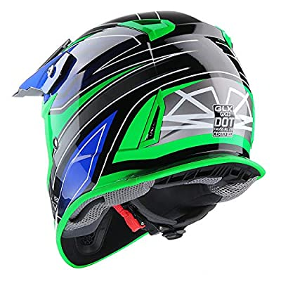 GLX Unisex-Adult GX23 Dirt Bike Off-Road Motocross ATV Motorcycle Helmet for Men Women, DOT Approved (Sear Green, X-Large): Automotive