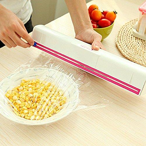 Maikerry Plastic Wrap Dispenser-Plastic Wrap Cutter With Plastic Food Freshness Wraptastic Dispenser Preservative Film Unwinding Cutting Foil Cling Wrap Kitchen Accessories