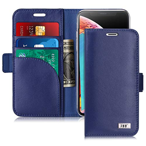 FYY [Genuine Leather] Wallet Case for iPhone Xs (5.8) 2018/iPhone X/10 2017, Handmade Flip Folio Wallet Case with Kickstand Card Slots Magnetic Closure for iPhone Xs (5.8) 2018/iPhone X/10 Navy