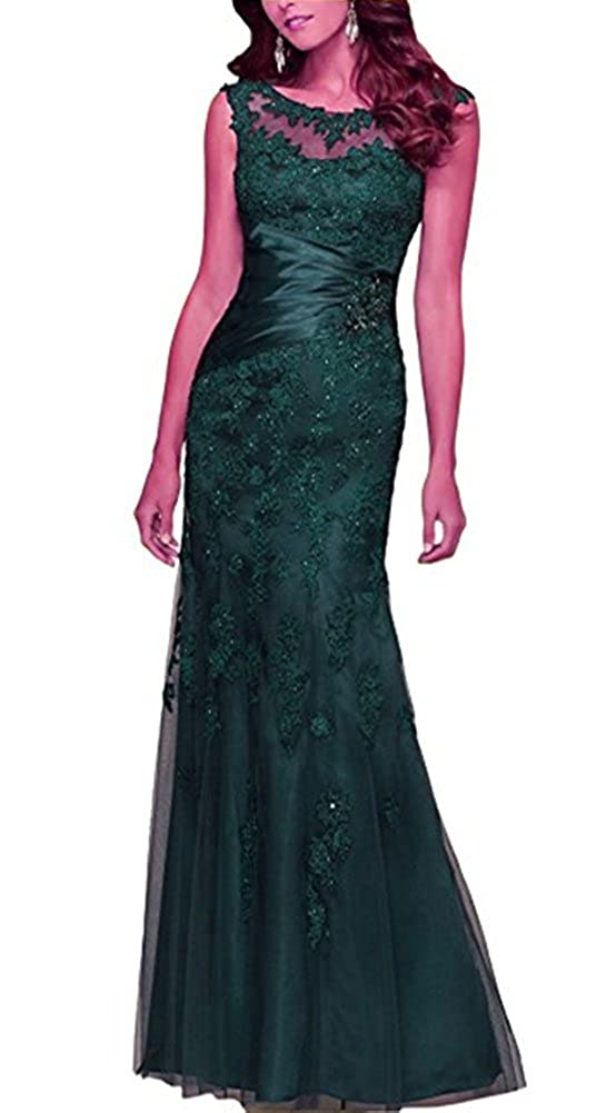 Dark Green Snow Lotus Women's Round Neck Sleeveless Lace Mermaid Ball Gown