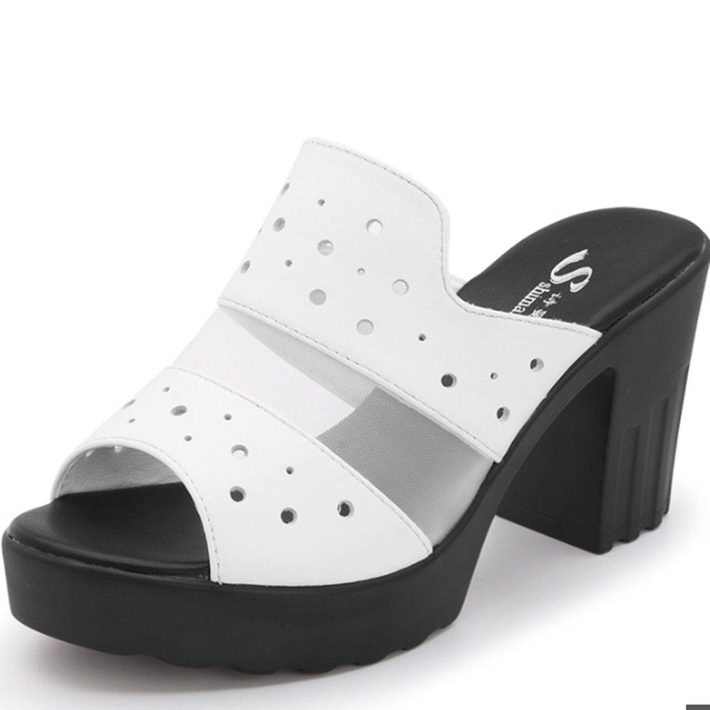 Cómodo Zapatillas impermeables de tacón alto (2 colores opcionales) (tamaño opcional) Aumentado ( Color : B , Tamaño : 39 ) 39|B