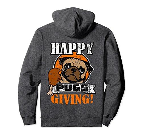 Unisex Happy Pugs Giving Hoodie - Pug Gifts - Distressed Pug Hoodie Large Dark Heather - Gift Giving Hoodie