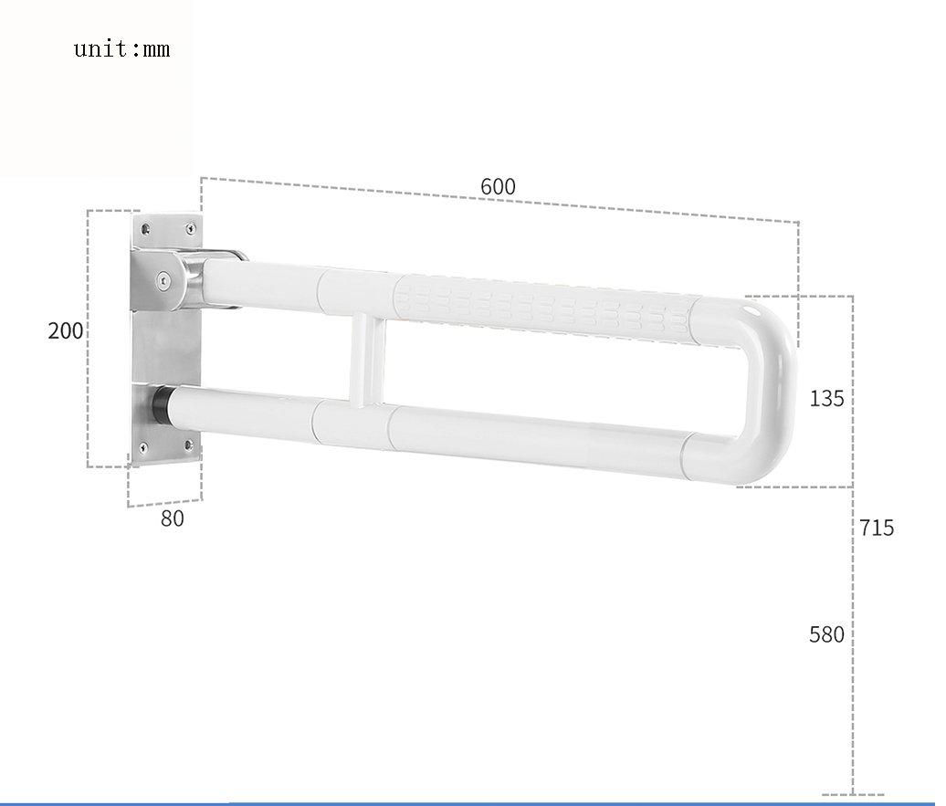 バスルーム手すり、バスルームステンレススチールフォールドセーフティアームレスト ( 色 : 白 , サイズ さいず : 60 cm 60 cm ) B078HRVPD4  白 60 cm 60 cm