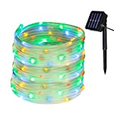 Yasolote Waterproof Rope Lights, Solar Garden Lights, 32.8ft 12m 100 LED 8 Modes Fairy Lights, Decorative Outdoor Lighting String Lights for Gazebo Patio Lawn Yard Fence Wedding Ornament (Multicolour)
