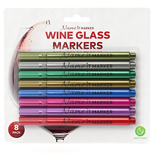 Drink Markers - Name It Marker, Metallic Wine Glass Pens, Food Grade Ink in Fun Colors! Personalize Your Drinks Like Wine Charms , Set of 8