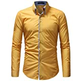 OWMEOT Mens 100% Cotton Casual Slim Fit Long Sleeve Button Down Printed Dress Shirts (Yellow, M)