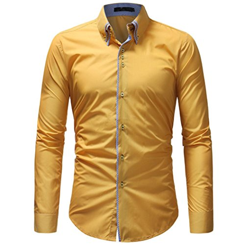 OWMEOT Mens 100% Cotton Casual Slim Fit Long Sleeve Button Down Printed Dress Shirts (Yellow, M) by OWMEOT
