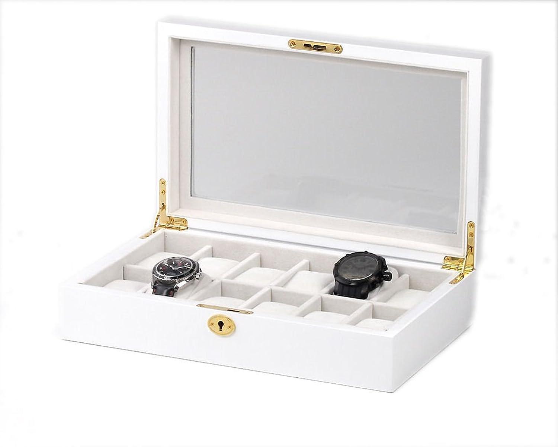 Uhrenkasten mit Vitrine Aufbewahrungsbox fÜr 12 Uhren aus Holz weiß