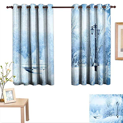 Luckyee Winter Thermal Insulating Blackout Curtain Winter Trees in Wonderland Theme Christmas New Year Scenery Freezing ICY Weather 63