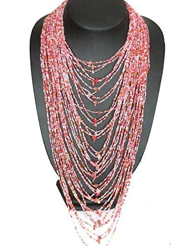 (22'' 40 Strand Pink Rose Quartz Decorated Layered Glass Seed Beads Necklace YE-2450)
