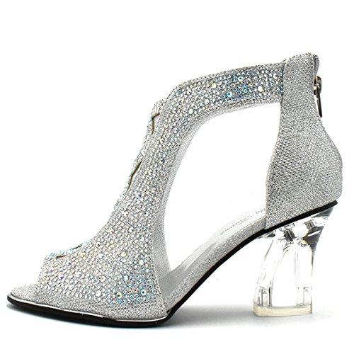 Bella Hanna Women Party Shoe Open Toe Clear Heel Glitter Rhinestone (9, silver)