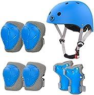 LANOVAGEAR Bike Helmet for Kids Knee Elbow Wrist Pads, Ages 2-8 Toddler Skateboard Helmet, for Cycling Scooter